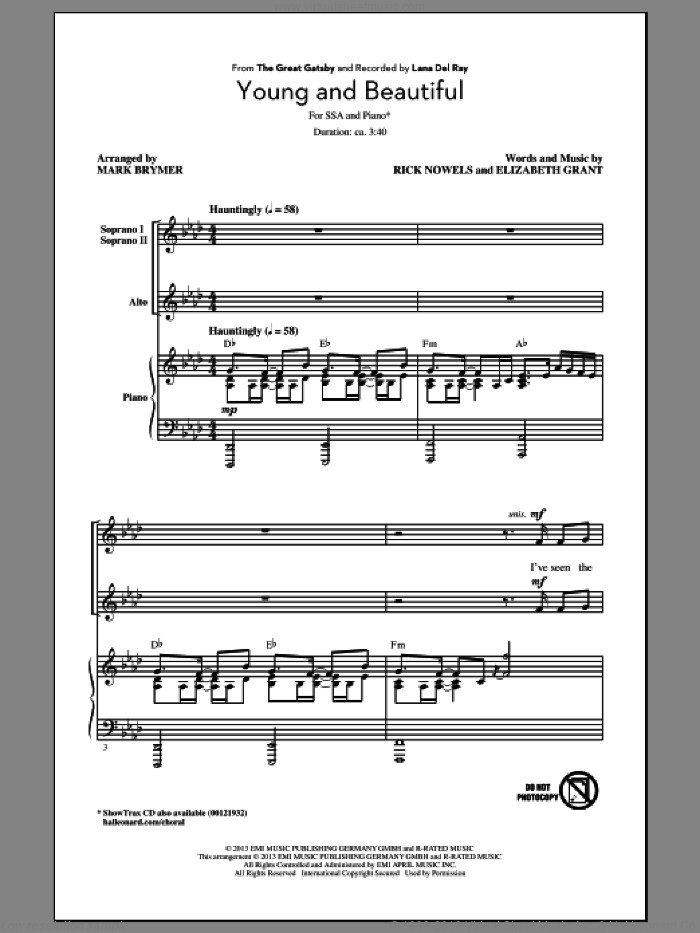 Young And Beautiful sheet music for choir (soprano voice, alto voice, choir) by Mark Brymer and Lana Del Rey, intermediate. Score Image Preview.