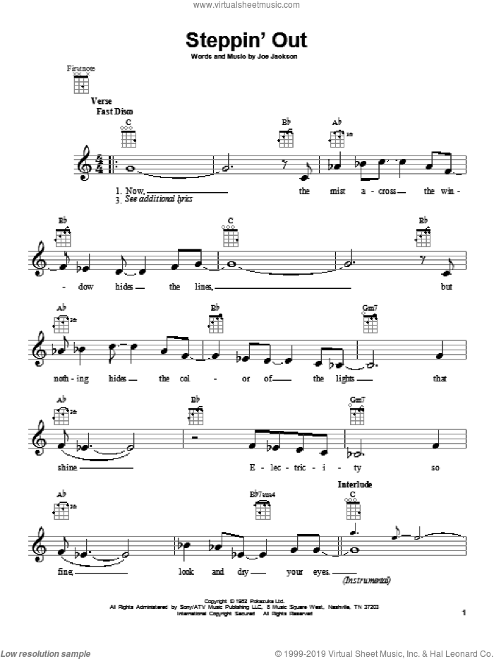 Steppin' Out sheet music for ukulele by Joe Jackson, intermediate skill level