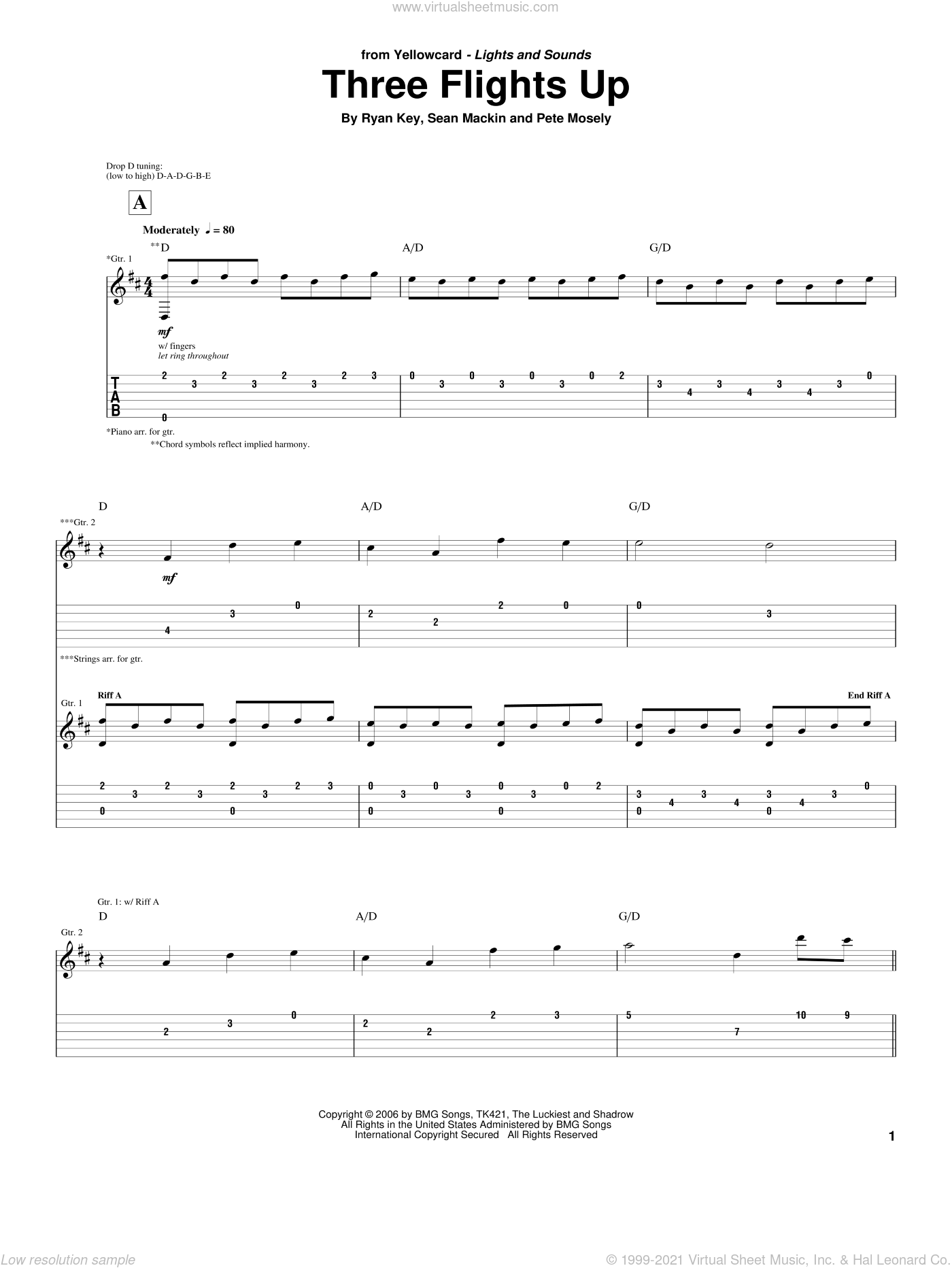 Three Flights Up sheet music for guitar (tablature) by Yellowcard, Pete Mosely, Ryan Key and Sean Mackin, intermediate skill level