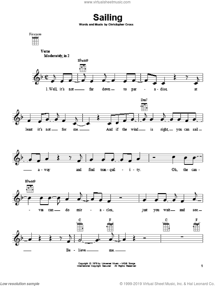Sailing sheet music for ukulele by Christopher Cross. Score Image Preview.