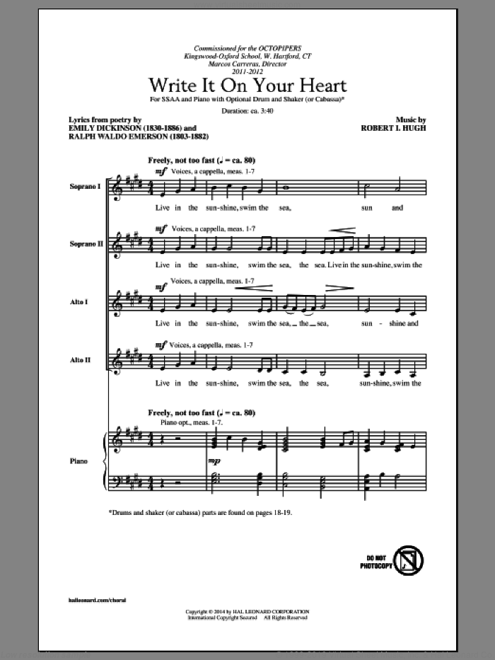 Write It On Your Heart sheet music for choir (soprano voice, alto voice, choir) by Robert I. Hugh, Emily Dickinson and Ralph Waldo Emerson, intermediate choir (soprano voice, alto voice, choir). Score Image Preview.