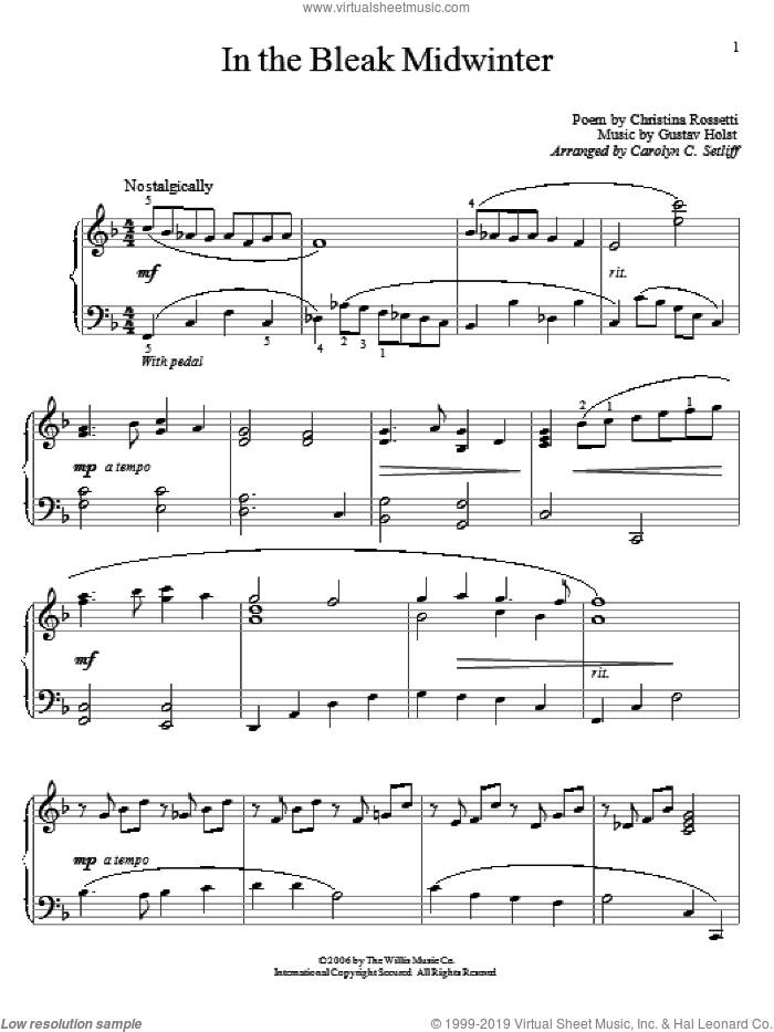 In The Bleak Midwinter sheet music for piano solo (elementary) by Christina Rossetti and Gustav Holst. Score Image Preview.
