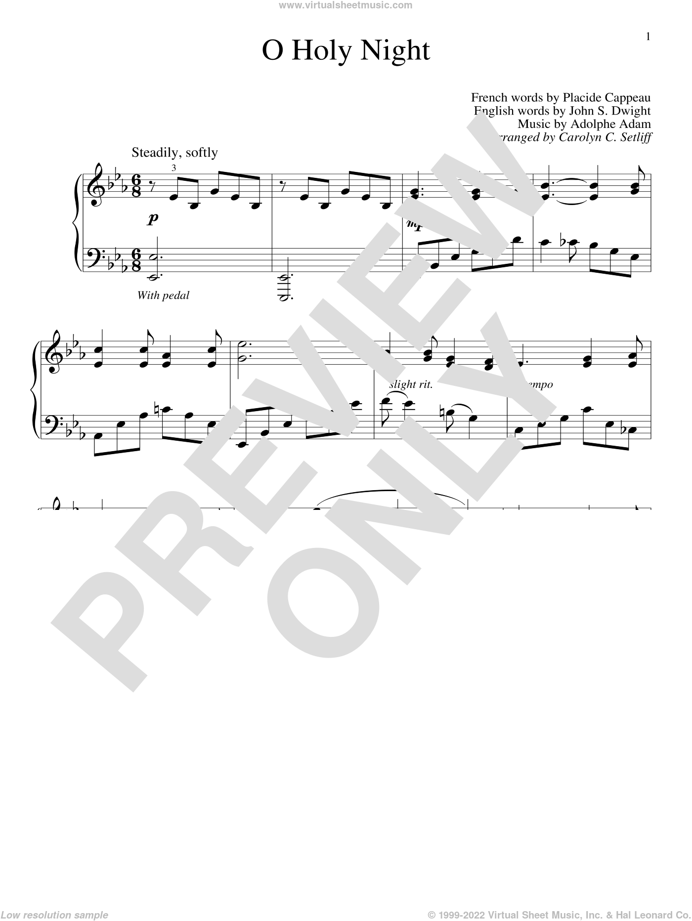 O Holy Night sheet music for piano solo (elementary) by Adolphe Adam, Carolyn C. Setliff, John S. Dwight and Placide Cappeau, beginner piano (elementary)
