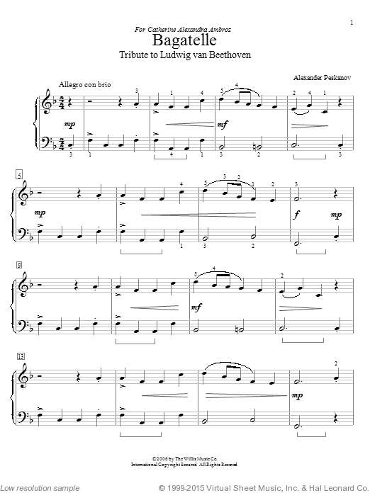 Bagatelle (Tribute To Ludwig van Beethoven) sheet music for piano solo (elementary) by Alexander Peskanov