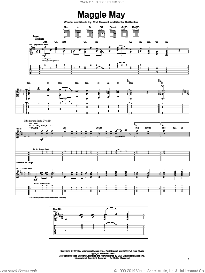 Maggie May sheet music for guitar (tablature) by Martin Quittenton and Rod Stewart. Score Image Preview.