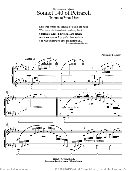 Sonnet 140 Of Petrarch (Tribute To Franz Liszt) sheet music for piano solo (elementary) by Alexander Peskanov