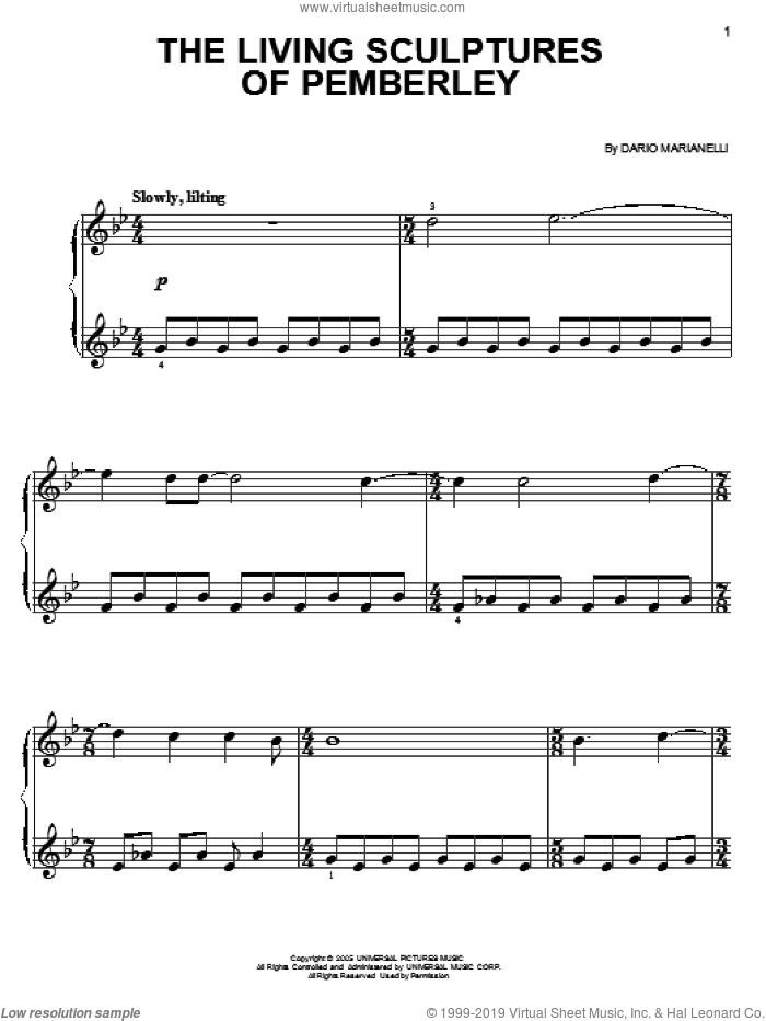 The Living Sculptures Of Pemberley, (easy) sheet music for piano solo by Dario Marianelli and Pride & Prejudice (Movie), easy skill level