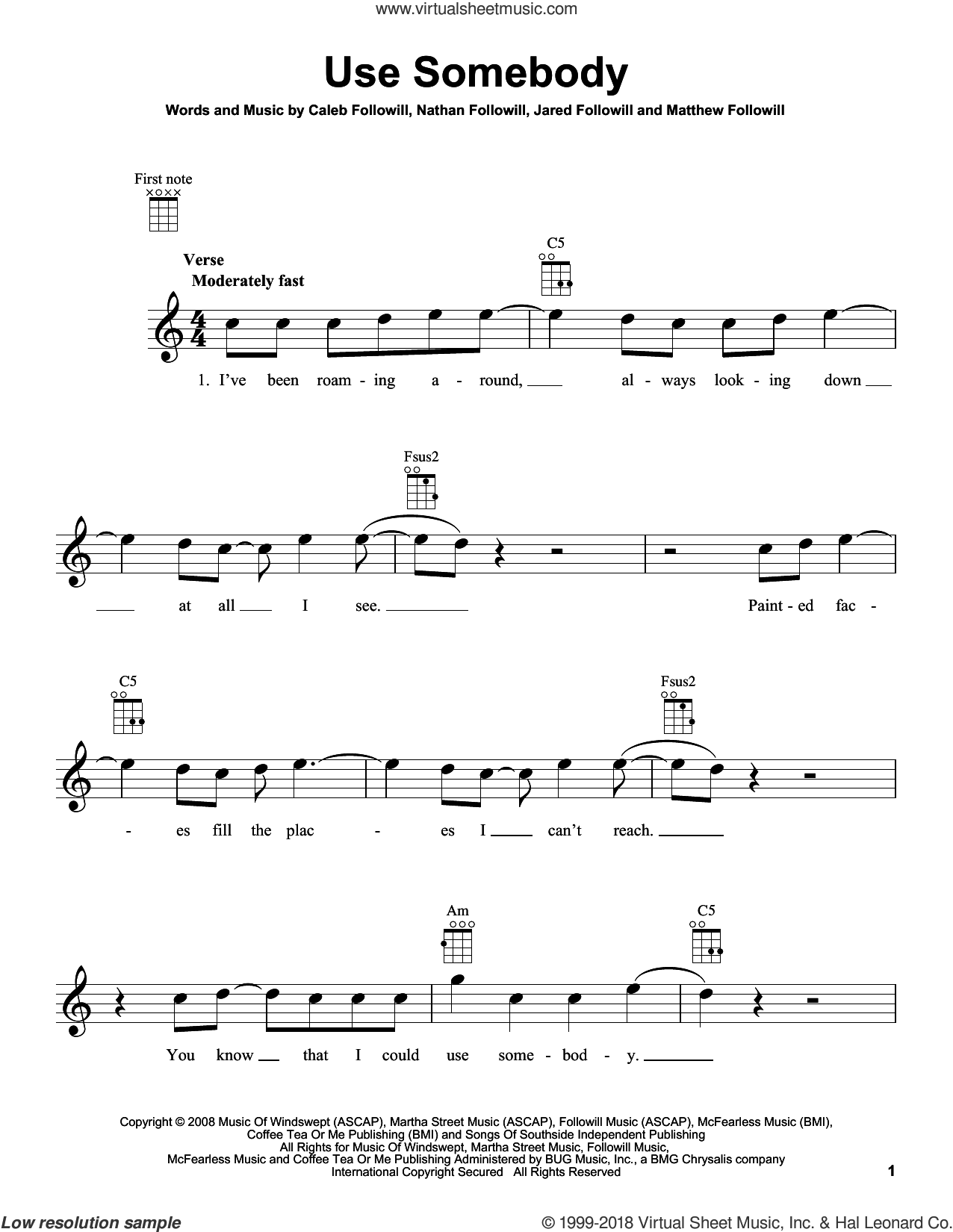 Use Somebody sheet music for ukulele by Kings Of Leon. Score Image Preview.