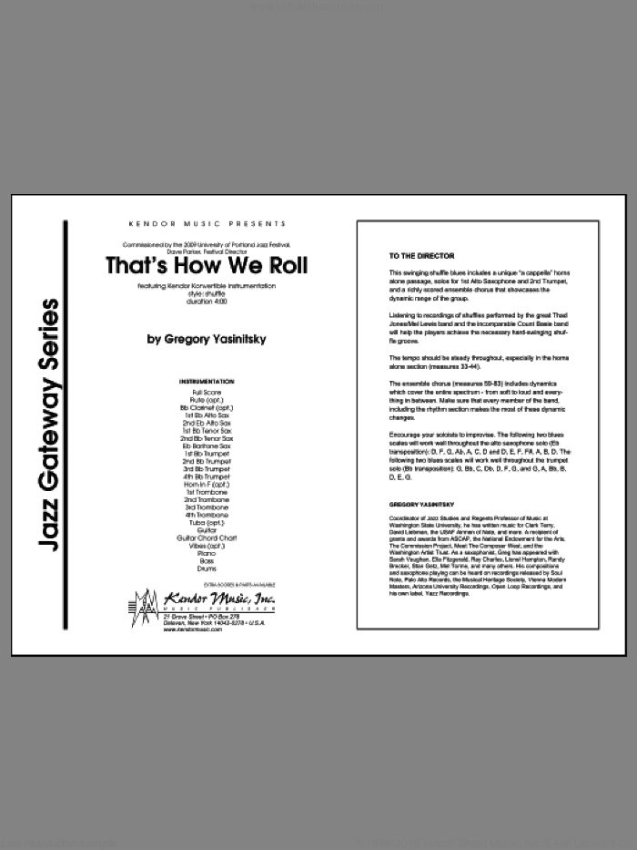 That's How We Roll sheet music for jazz band (full score) by Yasinitsky
