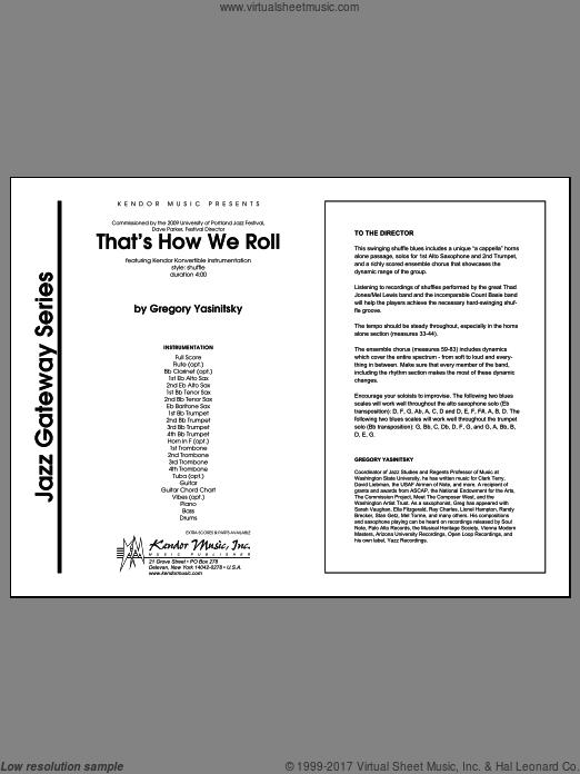 That's How We Roll (COMPLETE) sheet music for jazz band by Yasinitsky