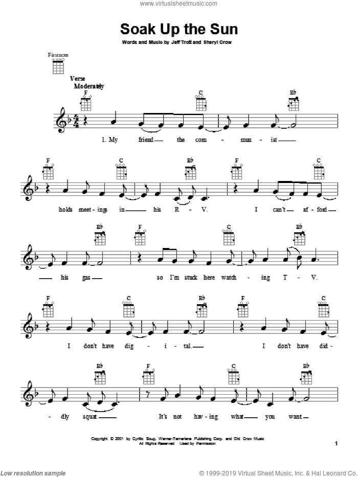 Soak Up The Sun sheet music for ukulele by Sheryl Crow, intermediate