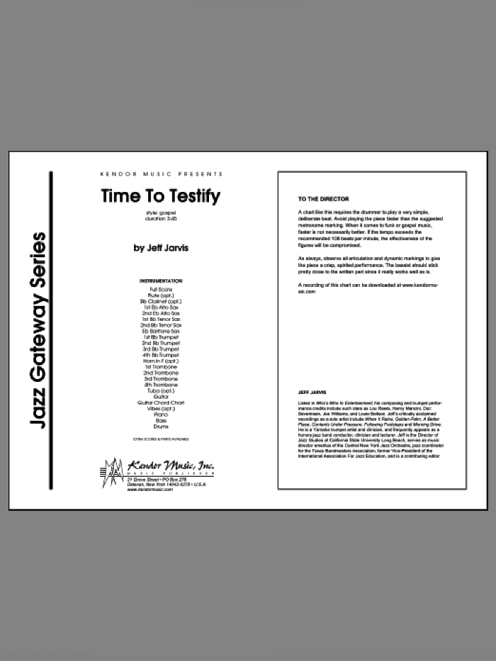Time To Testify (COMPLETE) sheet music for jazz band by Jarvis, intermediate skill level