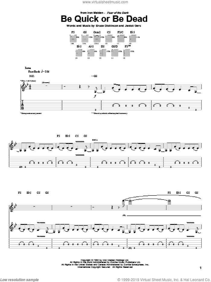 Be Quick Or Be Dead sheet music for guitar (tablature) by Iron Maiden, Bruce Dickinson and Janick Gers, intermediate skill level