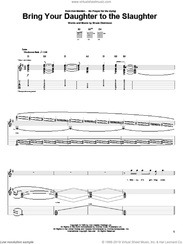 Bring Your Daughter To The Slaughter sheet music for guitar (tablature) by Bruce Dickinson and Iron Maiden. Score Image Preview.