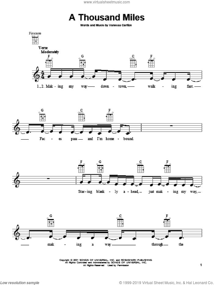 A Thousand Miles sheet music for ukulele by Vanessa Carlton. Score Image Preview.