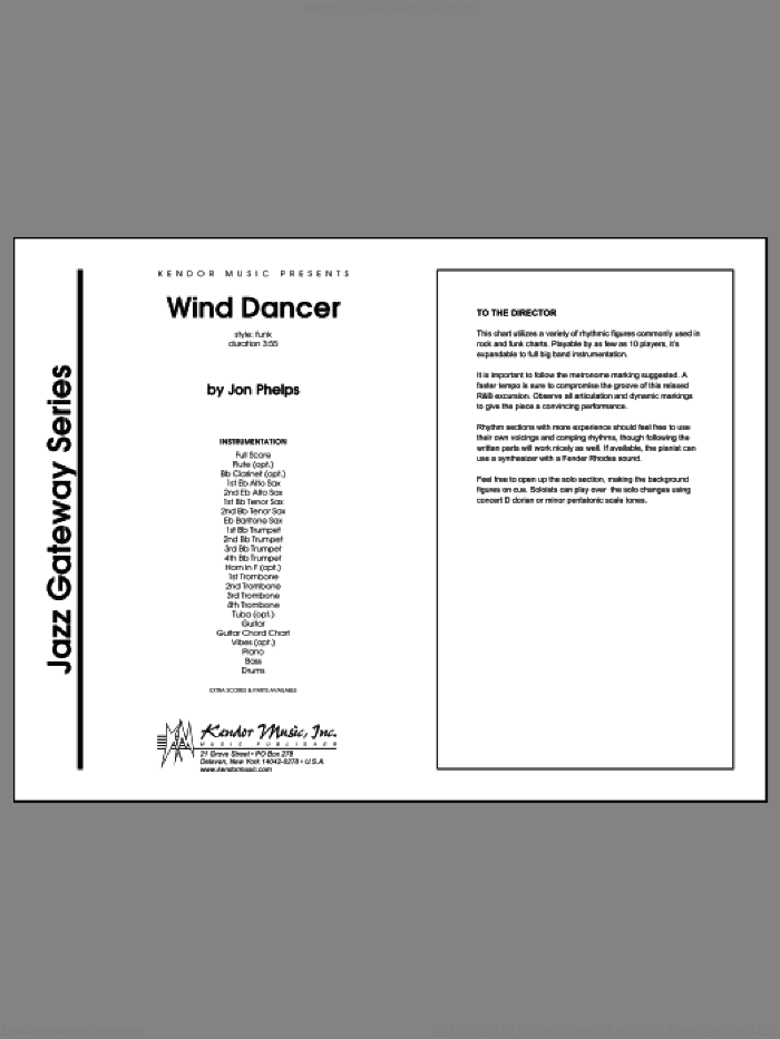 Wind Dancer (COMPLETE) sheet music for jazz band by Phelps, intermediate. Score Image Preview.