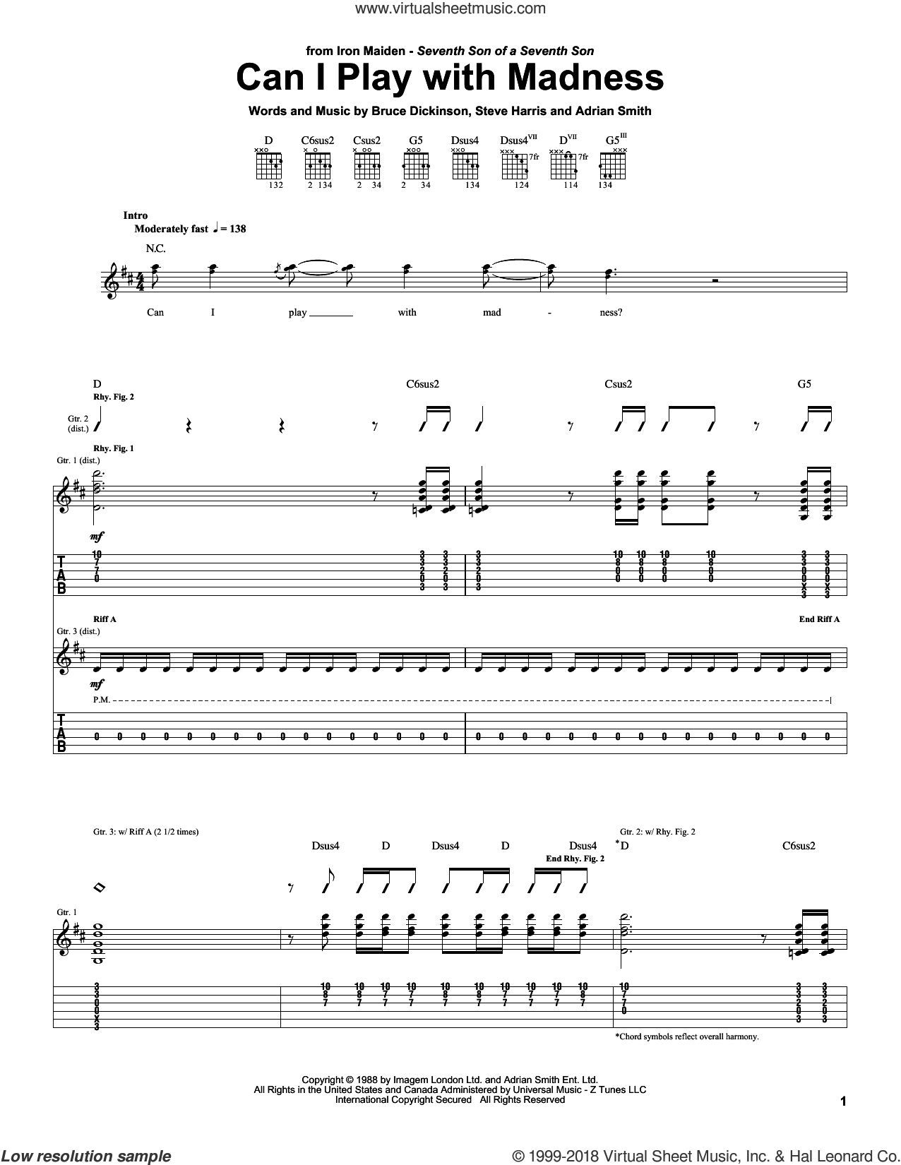 Can I Play With Madness sheet music for guitar (tablature) by Iron Maiden, Adrian Smith, Bruce Dickinson and Steve Harris, intermediate. Score Image Preview.