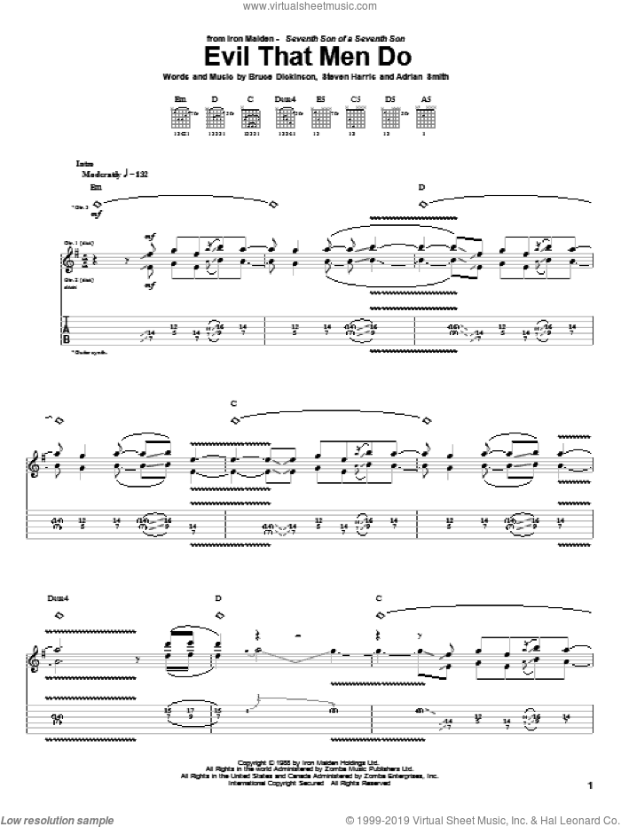 Evil That Men Do sheet music for guitar (tablature) by Iron Maiden, Adrian Smith, Bruce Dickinson and Steve Harris