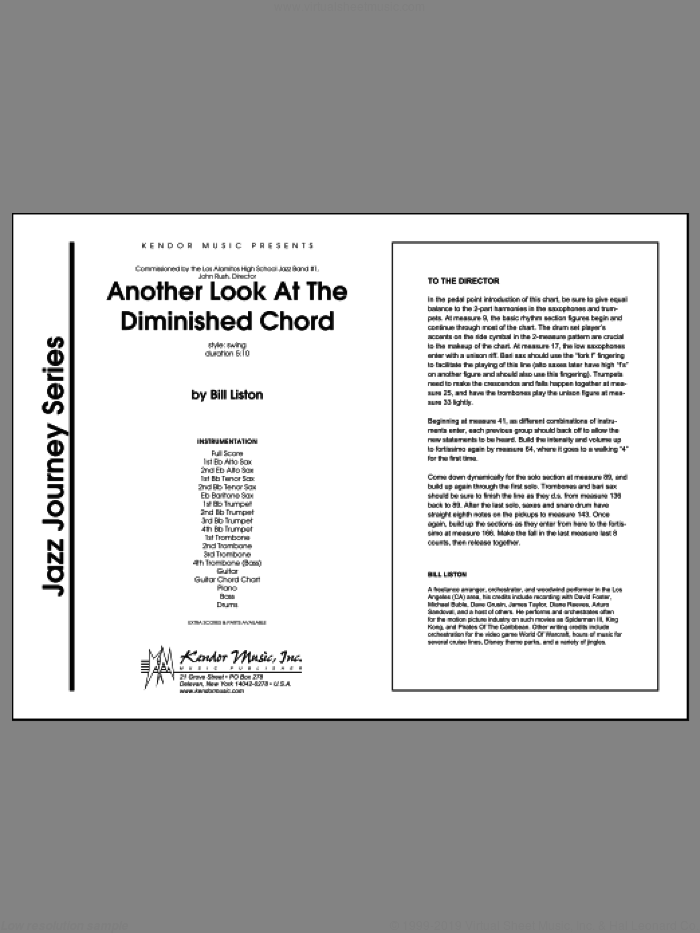 Another Look At The Diminished Chord sheet music for jazz band (full score) by Liston