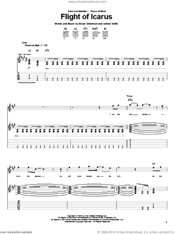 Flight Of Icarus sheet music for guitar (tablature) by Iron Maiden, Adrian Smith and Bruce Dickinson. Score Image Preview.