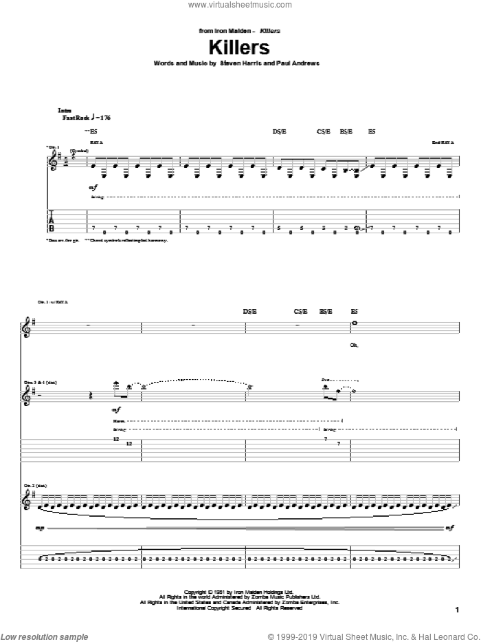 Killers sheet music for guitar (tablature) by Iron Maiden and Steve Harris. Score Image Preview.