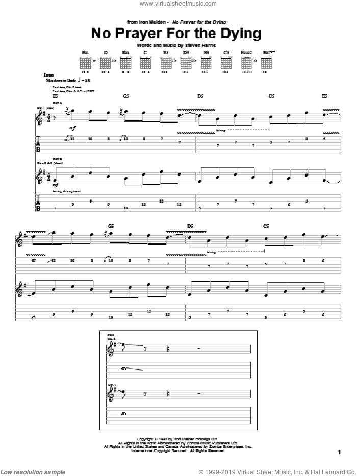 No Prayer For The Dying sheet music for guitar (tablature) by Steve Harris and Iron Maiden. Score Image Preview.