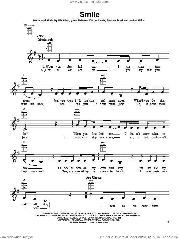 Smile sheet music for ukulele by Lily Allen. Score Image Preview.