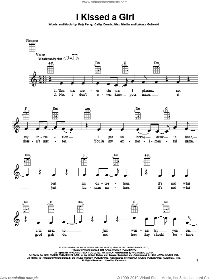 I Kissed A Girl sheet music for ukulele by Katy Perry. Score Image Preview.