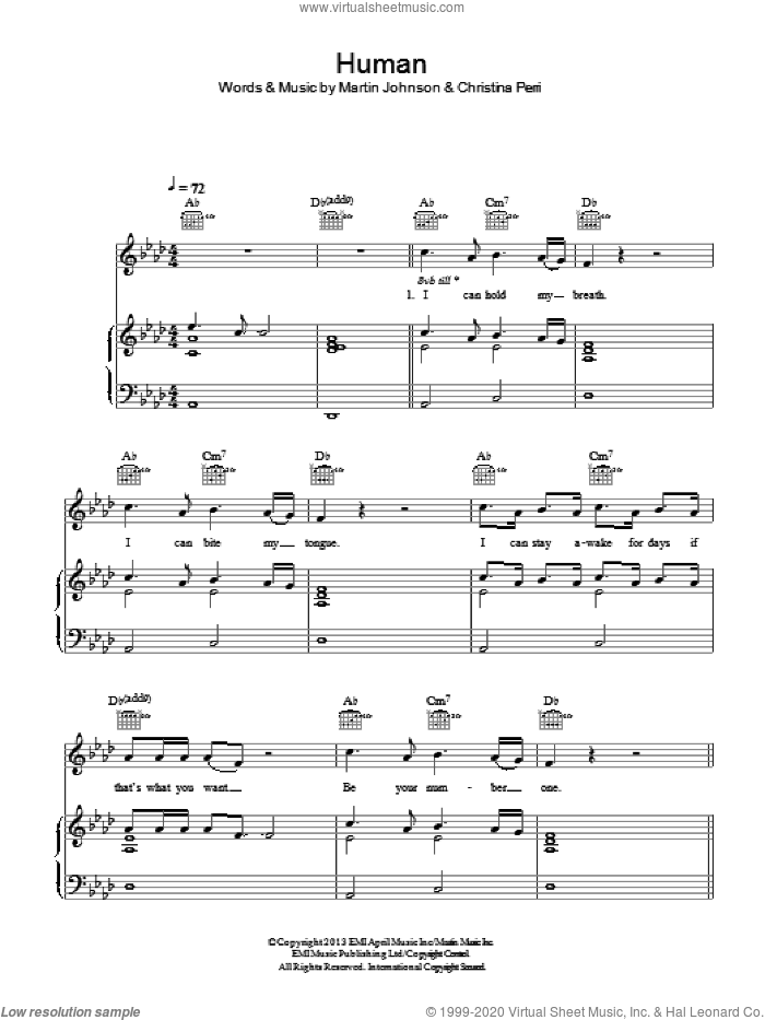 Human sheet music for voice, piano or guitar by Christina Perri and Martin Johnson, intermediate skill level