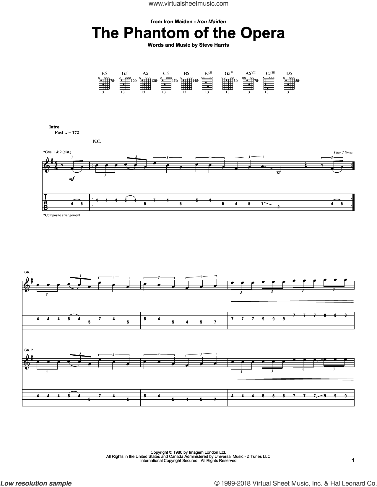 The Phantom Of The Opera sheet music for guitar (tablature) by Iron Maiden and Steve Harris, intermediate. Score Image Preview.
