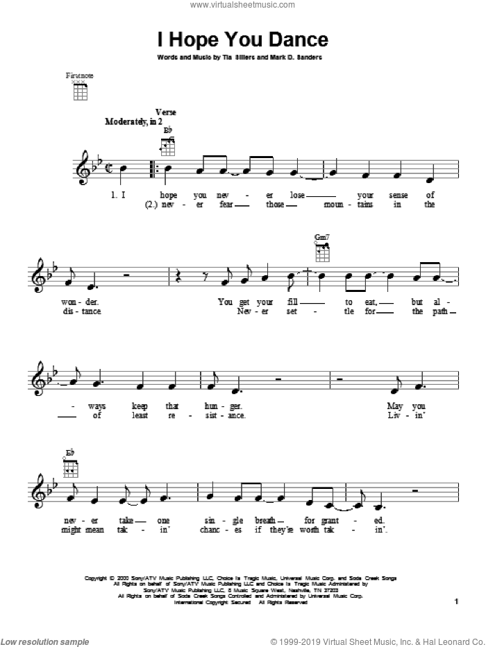 I Hope You Dance sheet music for ukulele by Lee Ann Womack with Sons of the Desert, intermediate skill level