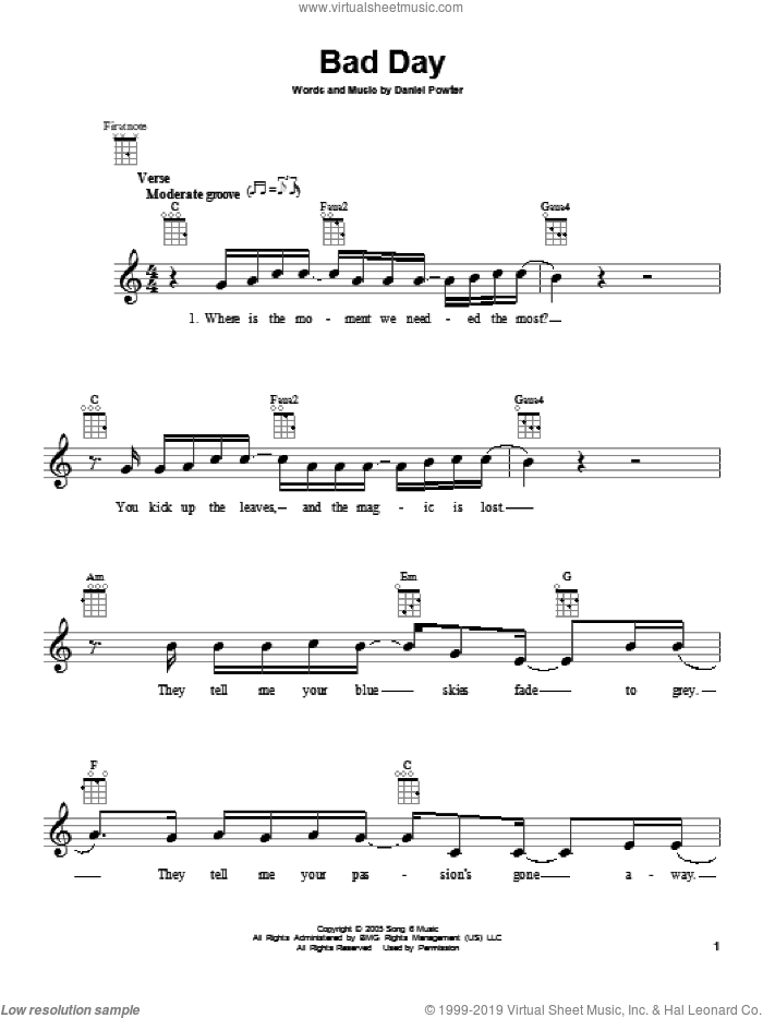 Bad Day sheet music for ukulele by Daniel Powter. Score Image Preview.