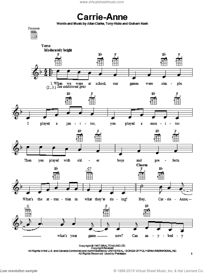 Carrie-Anne sheet music for ukulele by The Hollies, intermediate