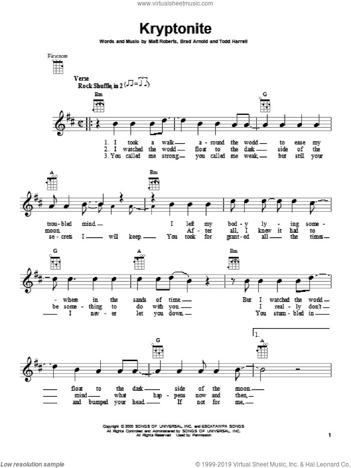 Kryptonite sheet music for ukulele by 3 Doors Down, intermediate skill level