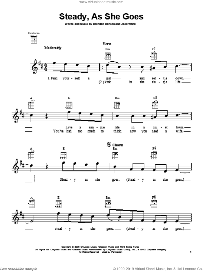 Steady, As She Goes sheet music for ukulele by The Raconteurs. Score Image Preview.