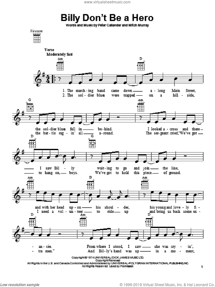 Billy Don't Be A Hero sheet music for ukulele by Bo Donaldson & The Heywoods, intermediate skill level