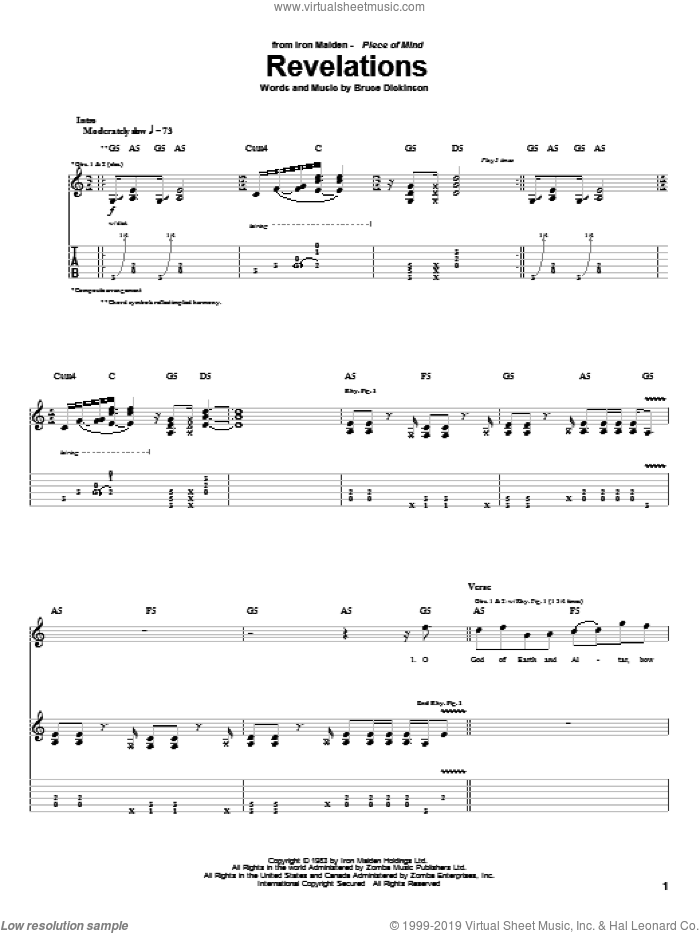 Revelations sheet music for guitar (tablature) by Iron Maiden and Bruce Dickinson. Score Image Preview.
