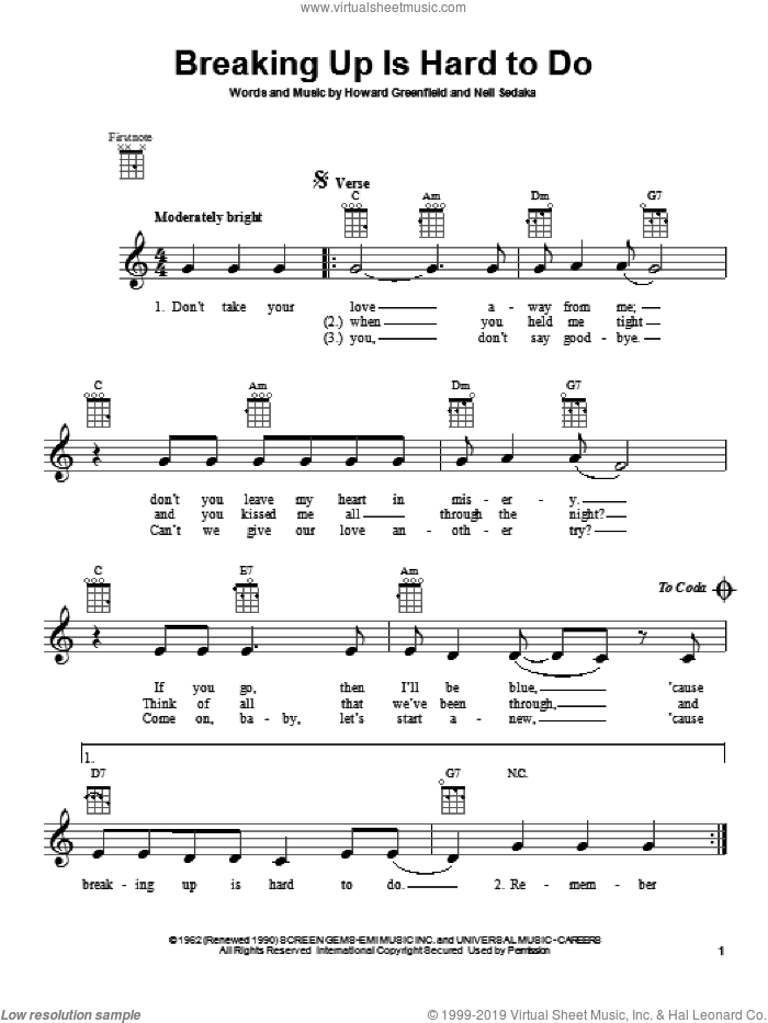 Breaking Up Is Hard To Do sheet music for ukulele by Neil Sedaka and Partridge Family, intermediate. Score Image Preview.