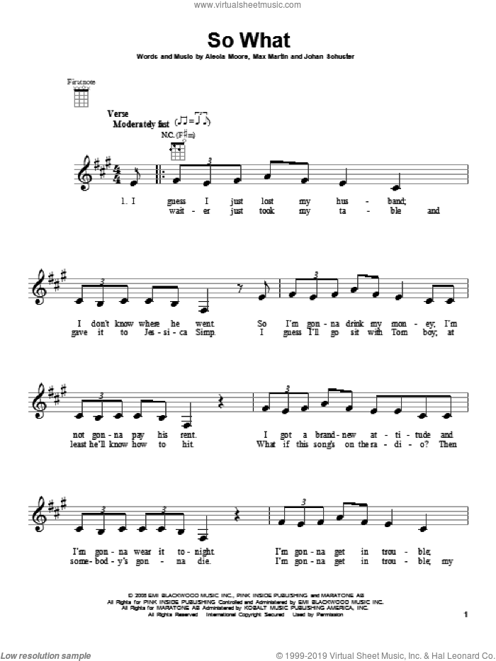 So What sheet music for ukulele