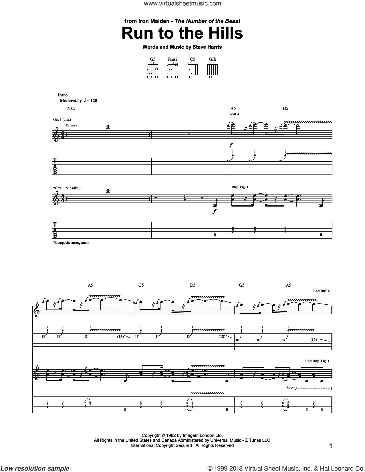 Run To The Hills sheet music for guitar (tablature) by Steve Harris