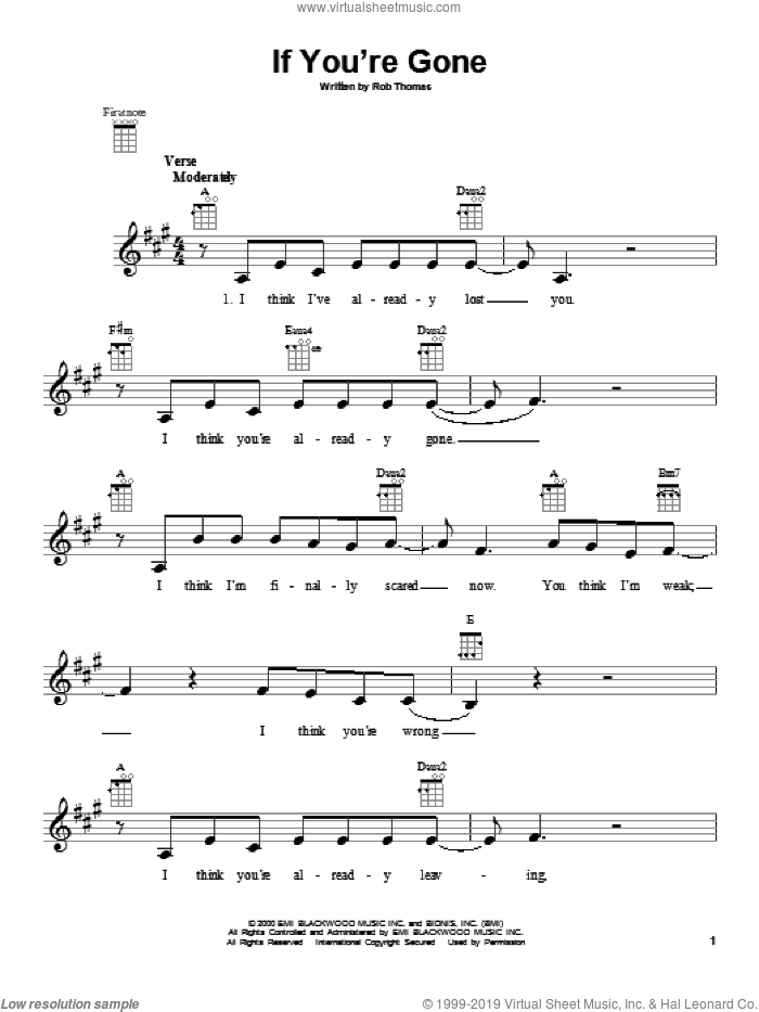 If You're Gone sheet music for ukulele by Matchbox Twenty. Score Image Preview.