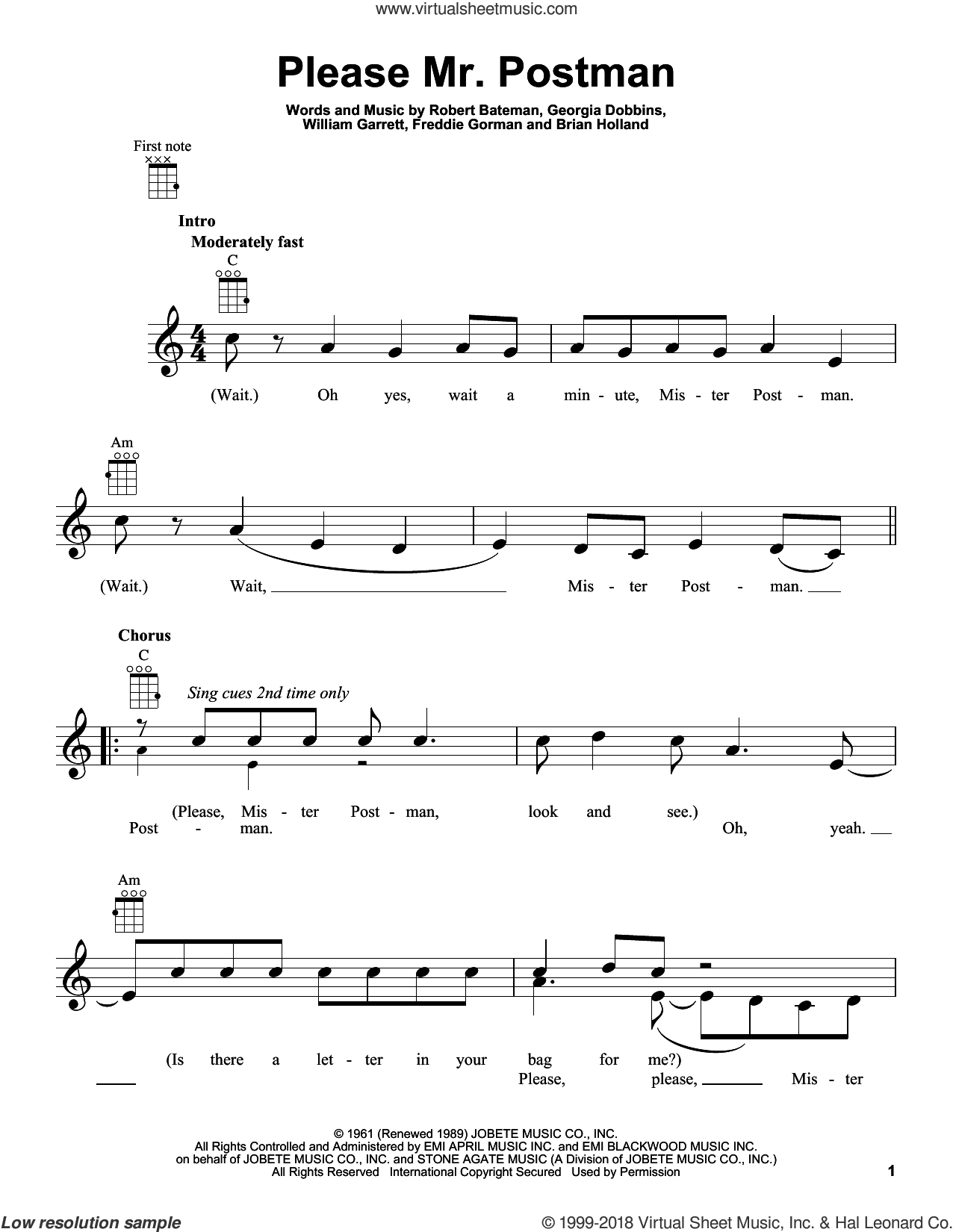 Please Mr. Postman sheet music for ukulele by The Marvelettes, Carpenters and The Beatles, intermediate skill level