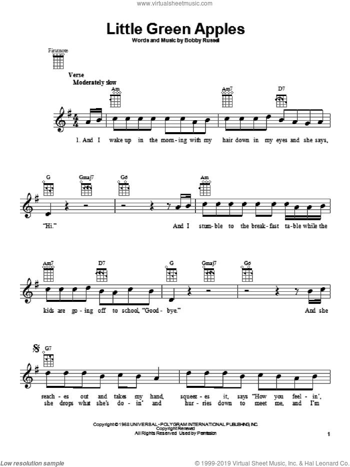 Little Green Apples sheet music for ukulele by Roger Miller, intermediate skill level