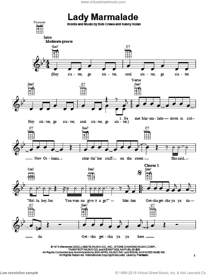 Lady Marmalade sheet music for ukulele by Patty LaBelle, intermediate ukulele. Score Image Preview.