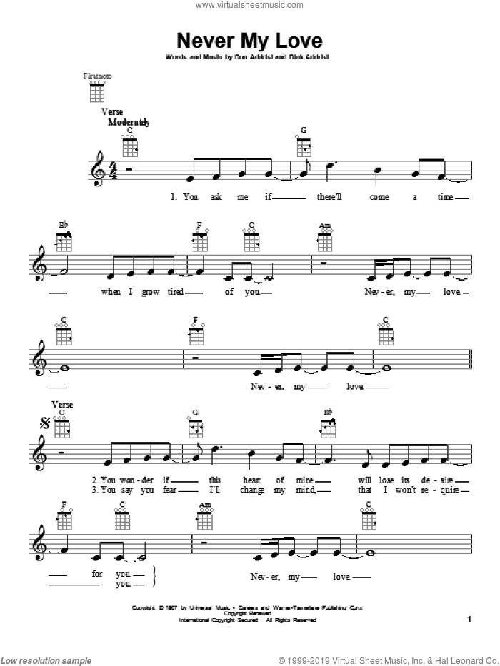 Never My Love sheet music for ukulele by The Association