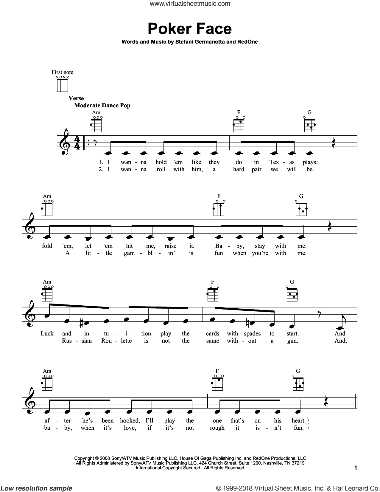 Poker Face sheet music for ukulele by Lady Gaga, intermediate skill level