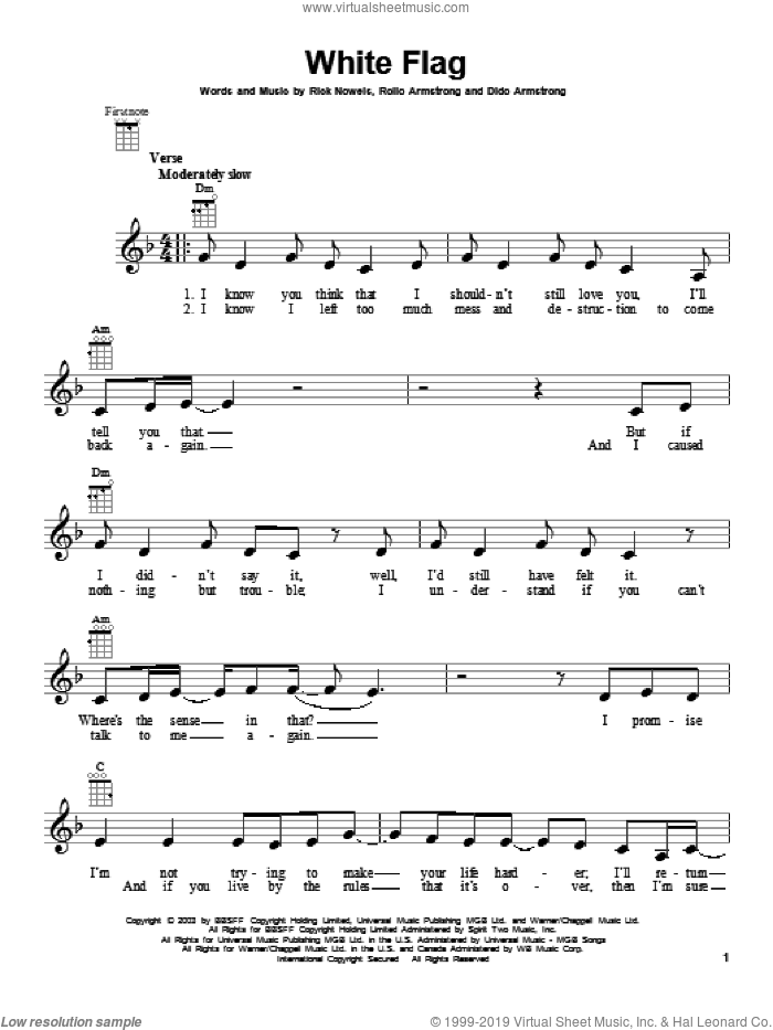 White Flag sheet music for ukulele by Dido Armstrong, intermediate. Score Image Preview.