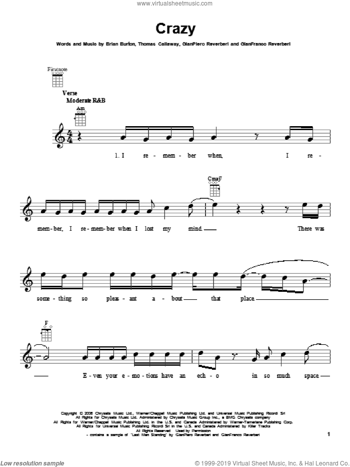 Crazy sheet music for ukulele by Gnarls Barkley, intermediate