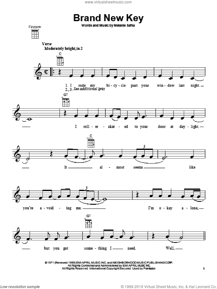 Brand New Key sheet music for ukulele by Melanie and Melanie Safka. Score Image Preview.