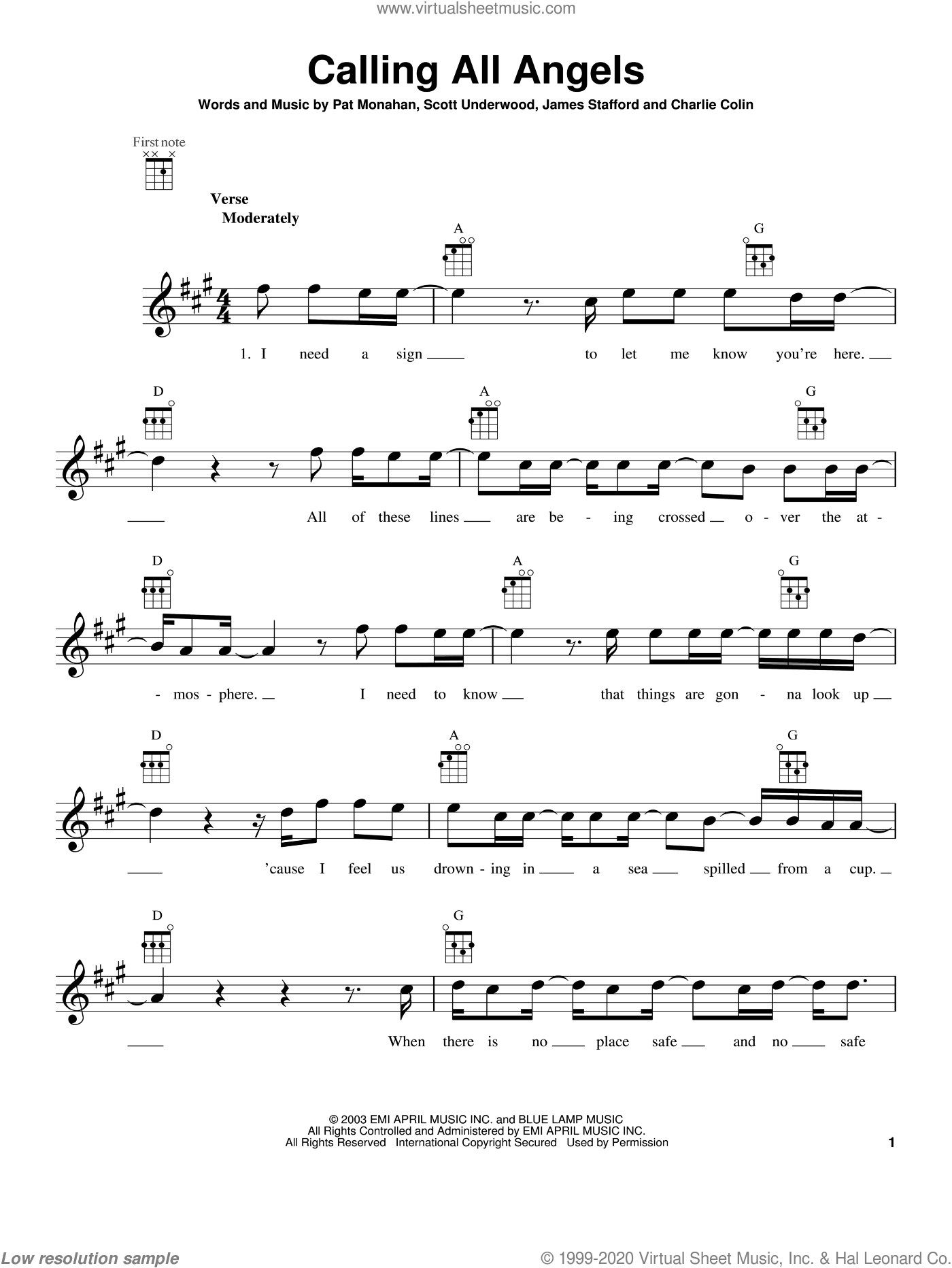 Calling All Angels sheet music for ukulele by Train, intermediate. Score Image Preview.